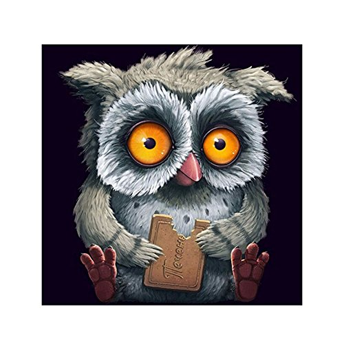 Gemini_mall® 5D Diamond Painting Cross Stitch Kits DIY Handmade Cute Cat Embroidery Painting Rhinestone Cross-Stitching Set Mosaic Home Room Decoration (Grey Owl)