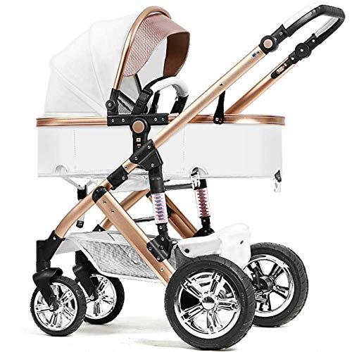 LAZ Cochecito de bebé, cochecito portátil plegable ligero Todo terreno Terrain City Cochecito para silla de paseo Cochecito de niño para bebés recién nacidos Niños pequeños y niñas (Color : White)