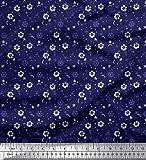 Soimoi Blau Viskose Chiffon Stoff Dot, Stern & Blumen