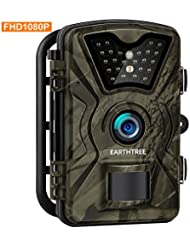 Earthtree Trail Camera 12MP 1080P HD Hunting Game Camera with 950nm IR LEDs Night Vision 2.4'' LCD Display Wildlife Scouting Camera with IP66 Waterproof