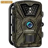 Earthtree Wildkamera, 12MP 1080P Full HD Jagdkamera Low Glow Infrarot 20m Nachtsicht Überwachungskamera 2.4' LCD IP66 Wasserdichte Nachtsichtkamera Wildkamera Fotofalle