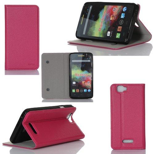 XEPTIO Wiko Rainbow/Wiko Rainbow 4G Tasche Leder Hülle Rosa Cover mit Stand - Zubehör Etui Wiko Rainbow Flip Case Schutzhülle (PU Leder, Handytasche Rosa) accessoires