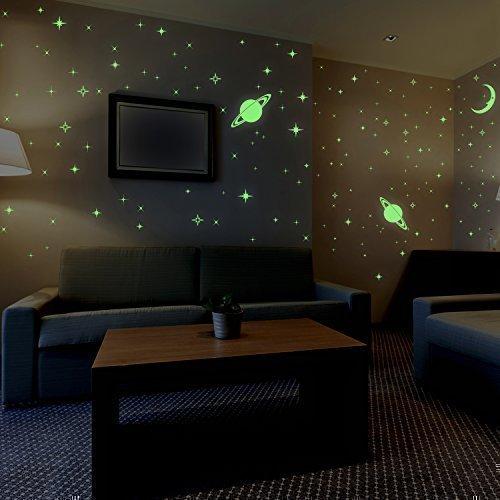 Walplus Wand Aufkleber Mond und Sterne Glow in Dark abnehmbarer Wandbild Kunst Abziehbilder Vinyl Home Dekoration DIY Living Schlafzimmer Décor Tapete Kinder Zimmer Geschenk (3Stück), gelb (Gelb Abnehmbaren Tapeten)