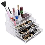 Kurtzy® Double Layer Triple Rack Clear Acrylic Make Up Cosmetic Organizer,Holders Vanity Jewellery Box With Brush Sets art & craft