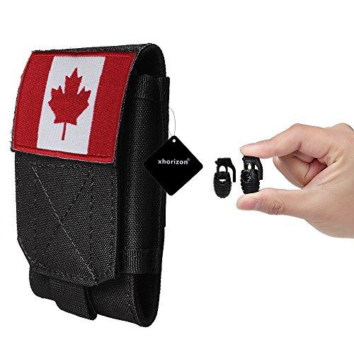 xhorizon TM MSH Armée Camo Sac Mobile Universel de téléphone portable Organiseur accessoires Housse Etui Coque Cover Case Sacoche de ceinture pour iPhone Samsung tactique MOLLE avec drapeau français #A