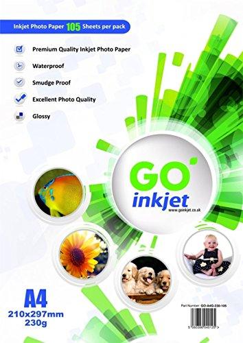 100 Blatt A4 230gsm Fotopapier Extra 5 Blatt: Sehr glänzend weiß und wasserdichte Fotopapier , kompatibel mit Tintenstrahl- und Fotodrucker von GO Inkjet