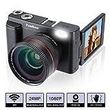 Macchina Fotografica e Fotocamera Digitale,FamBrow Videocamera Full HD 1080P WIFI Fotocamera Compatta 24MP 16x Zoom Digitale,3.0 Pollici 180°Rotazione Schermo LCD