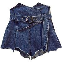 yunhou Pantalones Cortos Mujer - Sexy Pantalones Cortos De Mezclilla Irregulares Cintura Alta A-Linear Vaqueros Suelto Cinturón Jeans