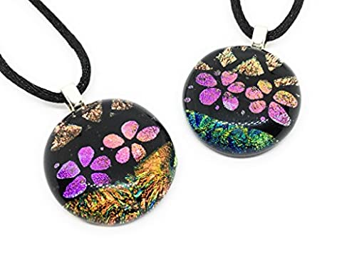 Handmade Glass Pendant - Mixed Designs in Floral Shades, 2cm in Diameter & Includes Gift Box (One Pendant