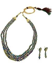 Fashionvalley Rainbow Color 3 Row Crystal Beads Jewellery Set For Women
