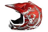 MATT Helm Kinderhelm Motorradhelm Crosshelm Motocrosshelm Sport (Rot, M)