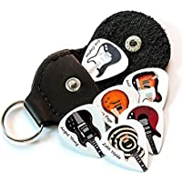12 x Famous Electric Guitars on 6 Double Sided Guitar Picks With Leather Keyring Holder Plectrums