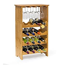 Relaxdays Bamboo Wine Rack 84 x 50 x 24 cm Bottle Holder with Wine Glass Holder, For 16 Bottles And 12 Wine Glasses, Natural Brown