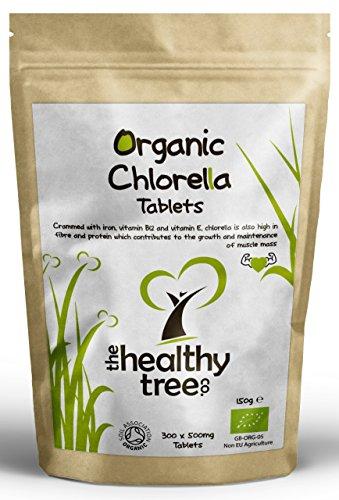 Comprimés de Chlorelle Bio | Riche en magnésium, en fibres, en protéines, en potassium, en fer et en Chlorophylle | Certifié Biologique par la Soil Association | Qualité supérieure de 300 comprimés x 500mg | Chlorella par TheHealthyTree Company