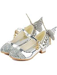 Hukangyu1231 Zapatos de Princesa Sandalias de niña Peep Princess Butterfly Kitten Heels Glitter Chica de Calidad Princesa Snow Queen Zapatos de fi (Color : Plata, tamaño : 29)