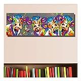 XIAOXINYUAN Bunte Vier Kühe Tiere Graffiti Ölgemälde Leinwand Für Wandkunst Bild Für Schlafzimmer Wohnzimmer Wohnkultur 40 × 120 cm