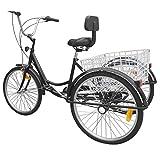 Yonntech 24' Bici da Donna 3 Ruote per Adulti Triciclo Comfort Bici Outdoor Bicicletta City Urban Wheel 6 velocità Ingranaggi Cestino Incluso
