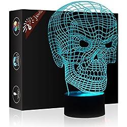 3d ilusión 7colores interruptor de luz decorativa lámpara luz nocturna jawell modelo por Smart Touch botón regalo creativo casa oficina decoración