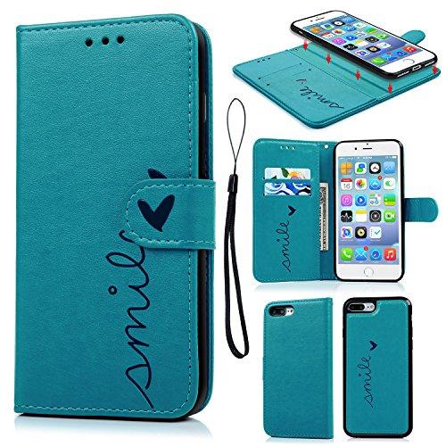 iPhone 7 Plus Funda, Carcasa Libro de Cuero Impresión de Amor PU Premium y TPU Funda Interna (2 en 1, Separable), Wallet Case Cover iPhone 7 Plus con Soporte Plegable, Ranuras para Tarjetas y Billetes - Azul