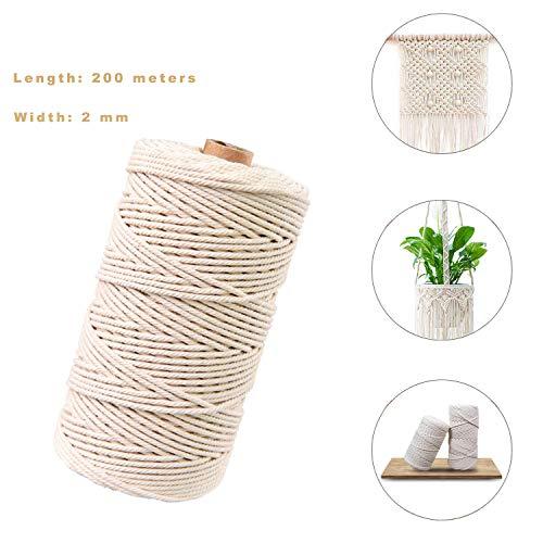 Sunshine smile naturliches Baumwolle Garn,Baumwollgarn Basteln,baumwollkordel weiß,Kordel DIY Handwerk,makramee garn(200M-2mm)