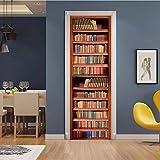 ruoxin312 Adesivi per Porte Creative Decalcomania da Camera da Letto Scorrevole sui gradini Libreria libreria Protezione in PVC Carta da Parati autoadesiva Impermeabile 77X200Cm