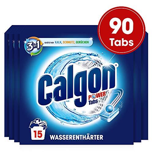 Calgon 3in1 Tabs Gigapack, Wasserenthärter gegen Kalk und Schmutz in der Waschmaschine, 90 Tabs (6 x 15 Tabs)