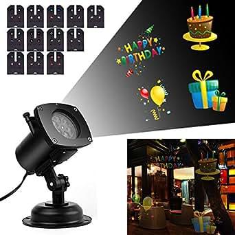 yizhou projecteur led ip65 avec 12 dessins interchangeables lampe de d coration prise eu. Black Bedroom Furniture Sets. Home Design Ideas