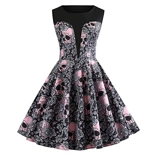 WWricotta Fashion Womens Halloween O-Neck Skull Floral Print Vintage Evening Party Dress(Schwarz,XXL)