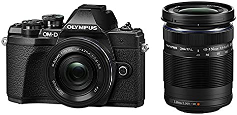 Olympus OM-D E-M10 Mark III Mirrorless Micro Four Thirds DSLR Camera with 14-42 EZ and 40-150 Twin Lens Kit (Black)