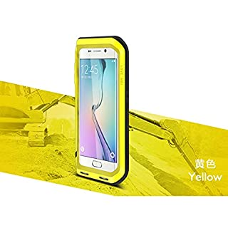 LOVE MEI Aluminum Waterproof Case for Samsung Galaxy S6 EDGE, Shockproof Metal Cover *Two-Years Warry* Yellow
