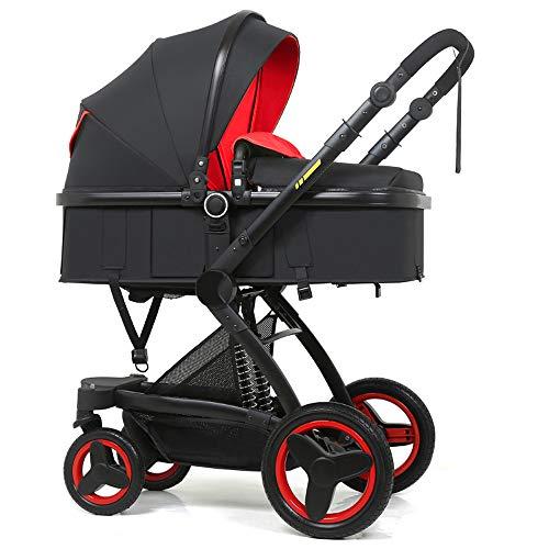 Bellec 2 in 1 Kinderwagen PU hoch Landschaft Kinderwagen Korb kann liegend Falten Zwei-Wege-Schock Kinderwagen sitzen (Schwarz2) (Auto Sitz Arch)
