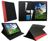 Sweet Tech Denver TAQ-10252 / TAQ-10253 / TAQ-10283 10.1 Zoll Tablet Schwarz mit Roter Trimmen Universal Wallet Schutzhülle Folio (10-11 Zoll)
