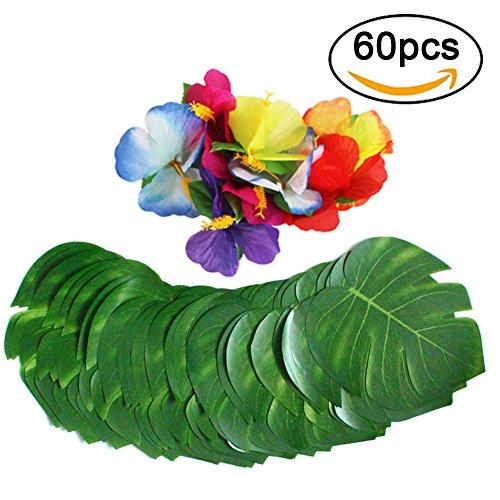 xatan 60 Pcs Tropische Palmblätter, künstliche 20cm Monstera Blätter und Hibiskus Blumen Hawaiian Jungle Beach Party Thema Dekorationen für Geburtstag, Hochzeit, Prom, Veranstaltungen Dekor