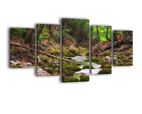 Leinwandbild Flusslauf im Wald LW371 Wandbild, Bild auf Leinwand, 5 Teile, 210 x 100 cm, Kunstdruck Canvas, XXL Bilder, Keilrahmenbild, fertig aufgespannt, Bild, Holzrahmen, Bach, Bäume, Grün