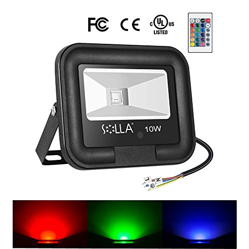 SOLLA 10W Foco LED RGB con control remoto, Proyector LED de colores, 16 opciones de color, 4 Modos luminosos, IP65 (resistente al agua) valido para interiores y exteriores, lluvio
