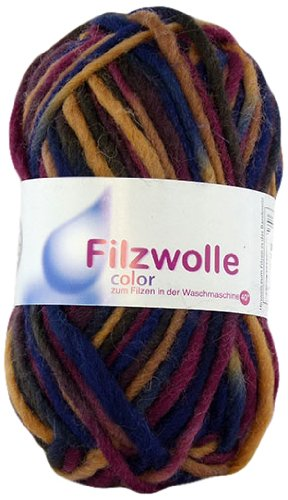 Grundl 2614-33 - Gomitolo di lana, 50 g, multicolore (cioccolato/borgogna/blu navy) - Borgogna Filato