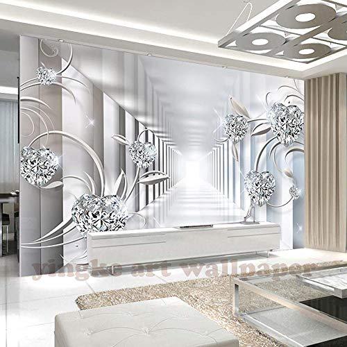 3D Wallpaper Individuelles Wandbild Vlies 3D Raum Tapete 3D Abstract Space Europa Blume Juwel Flimmern Fototapete Für Wände 3D 250 * 175Cm