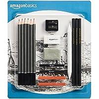 AmazonBasics Kit de croquis et dessin 17pièces avec crayons inclus