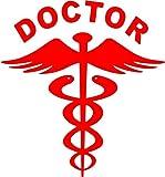 #5: CVANU (Pack of 2) Red Doctor car decal sticker(14.5Cm X 15.5 Cm)