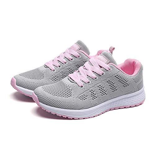 Caren Damen Mesh Net Schuhe Casual rutschfeste Wilde Neue Sportschuhe Weichen Boden Stoßdämpfung Atmungsaktive Laufschuhe (Color : Grau, Size : 37 EU)