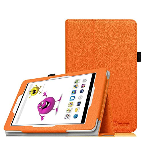 Fintie Odys Junior Tab 8 Pro Hülle Case - Slim Fit Folio Kunstleder Schutzhülle Cover Tasche mit Ständerfunktion & Stylus-Halterung für Odys Junior Tab 8 Pro 20,3cm (8 Zoll) Tablet-PC, Orange