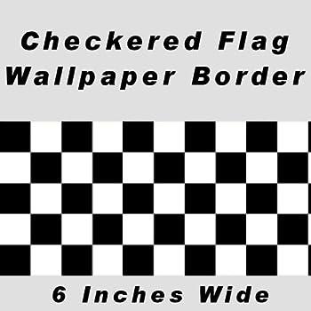 Checkered Flag Cars Nascar Wallpaper Border 6 Inch (No Edge)
