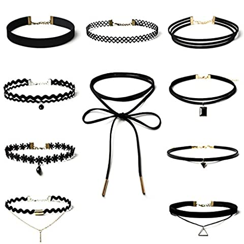WINWINTOM 10 Pieces Choker Necklace Set Stretch Velvet Gothic Lace Necklace