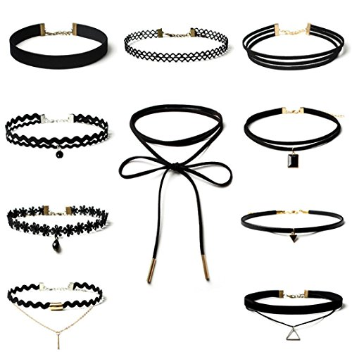 WINWINTOM 10 Pieces Choker Necklace Set Stretch Velvet Gothic Lace Necklace