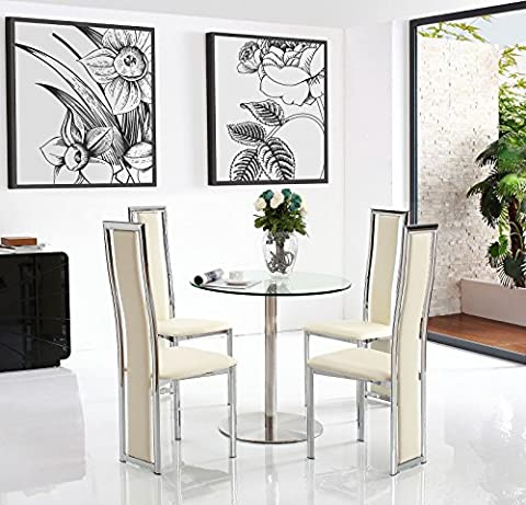 Target 80cm Round Steel & Glass Dining Table with 4 Faux Leather Ivory Chairs 80cm Diameter | Tempered Glass | Steel | Fast & Free Delivery