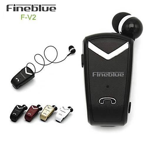 Fineblue F-V2 Bluetooth Stereo Headset BT4.0 Voice Prompt Wireless Music Earphone Earpiece Cable with Clip (Gold PVC Package) Wireless Bluetooth V2.0 Stereo