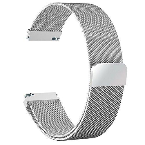 Fullmosa Gear S3 Frontier/Classic Watch Armband, Milanese Loop 22mm Uhr Ersatz Armbänder für Samsung Gear S3 Frontier/S3 Classic/Moto 360 2nd Gen 46mm, Silber
