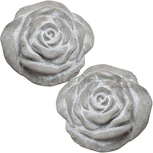 matches21 Rosen-Blüten Garten-Deko Outdoor Deko-Figuren grau 2er Set aus Beton je 13x6 cm wetterfest frostbeständig