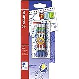 STABILO FUN - Pack de 3 recharges pour stylo roller ergonomique (encre bleue effaçable)