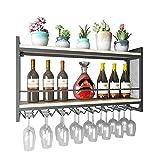 YANGMAN Support Mural à vin en métal, présentoir à Bouteille de vin et à vin, Art en Fer, Support Suspendu rétro créatif et Tablette pour Cuisine/Bar / Restaurant 100x20x55 cm Noir